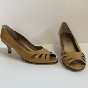 Ditto by VanEli Tan Patent Leather Peep Toe Pumps